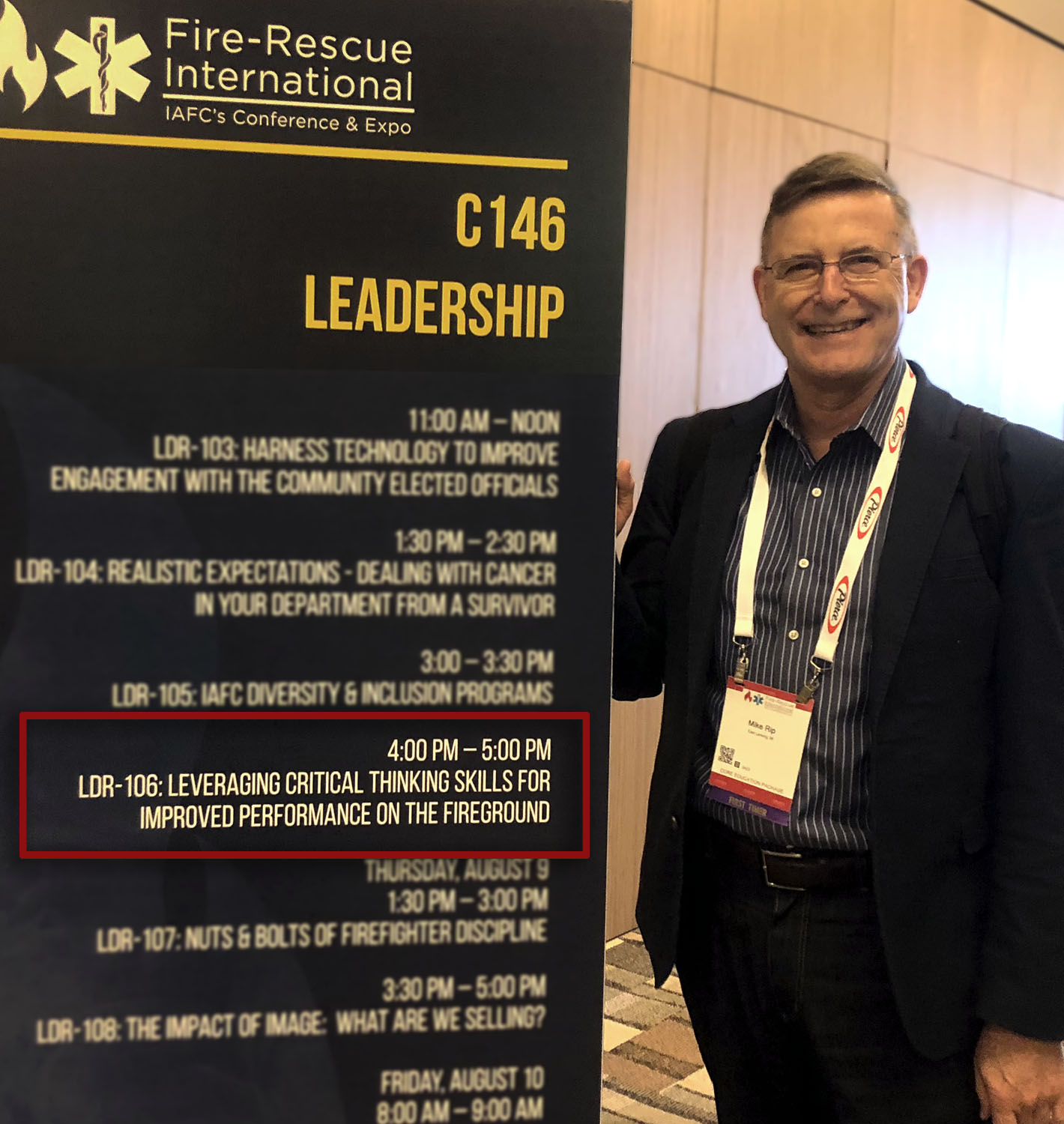 Dr. Rip at the International Association of Fire Chiefs (IAFC) Conference.